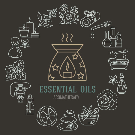 Aromatherapy and essential oils brochure template. Vector line illustration of aromatherapy diffuser, oil burner, spa candles, incense sticks, herbal bag massage. Aromatherapy poster, spa salon  イラスト・ベクター素材