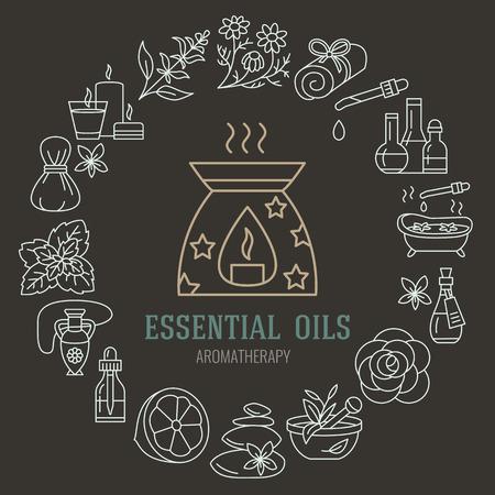 Aromatherapie en essentiële oliën brochure sjabloon. Vector lijn illustratie van de aromatherapie diffuser, oliebrander, spa kaarsen, wierook, kruiden zak massage. Aromatherapie poster, kuuroordsalon Stockfoto - 66482578