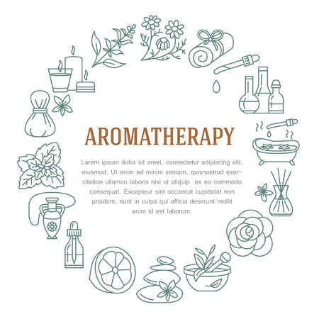 Aromatherapy and essential oils circle template. Vector line illustration of aromatherapy diffuser, oil burner, spa candles, incense sticks, herbal bag massage. Essential oils poster, editable stroke