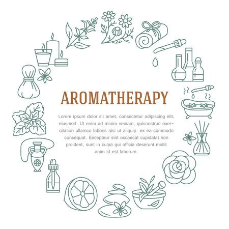 Aromatherapie und ätherische Öle Kreisschablone. Vector Linie Illustration der Aromatherapie-Diffusor, Ölbrenner, Spa Kerzen, Räucherstäbchen, Kräuterbeutelmassage. Ätherische Öle Poster, editierbare Schlaganfall