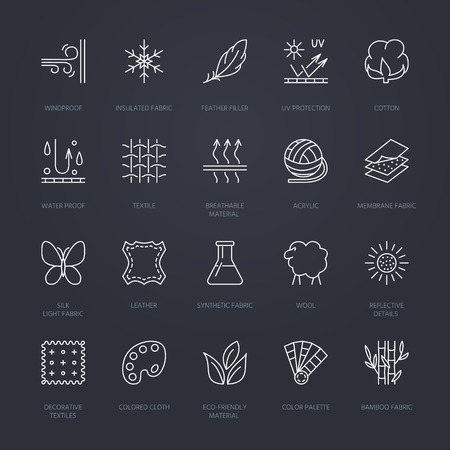 breathable: Vector line icons of fabric feature, garments property symbols. Elements - cotton, wool, waterproof, uv protection. Linear wear labels, textile industry pictograms with editable stroke for clothes.