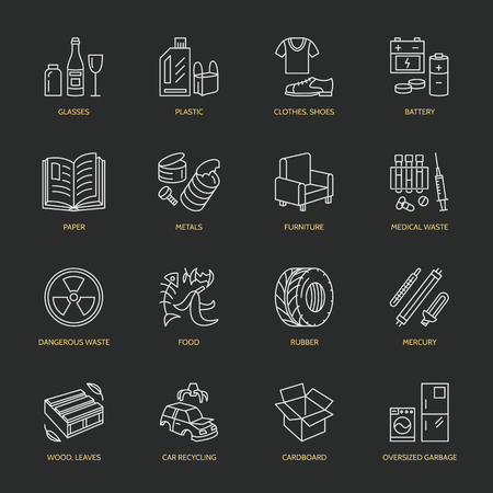 Modern vector thin line icons of waste sorting, recycling. Garbage collection. Recyclable trash - paper, glass, plastic, metal, wood. Linear pictogram for poster, brochure of recycling management.