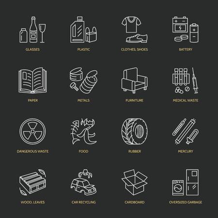 Moderne vector dunne lijn iconen van afvalscheiding, recycling. Garbage collection. Recyclebaar afval - papier, glas, plastic, metaal, hout. Lineaire pictogram voor poster, brochure van recycling management. Stockfoto - 66482582