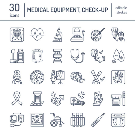 Vector thin line icon of medical equipment, research. Medical check-up, test elements - MRI, xray, glucometer, blood pressure, laboratory. Linear pictogram with editable stroke for clinic, hospital.