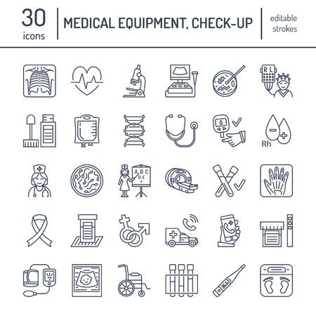 Vector dunne lijn icoon van medische apparatuur, onderzoek. Medische check-up, testen elementen - MRI, röntgenstraal, glucometer, bloeddruk, laboratorium. Lineaire pictogram met bewerkbare slag voor de kliniek, het ziekenhuis.
