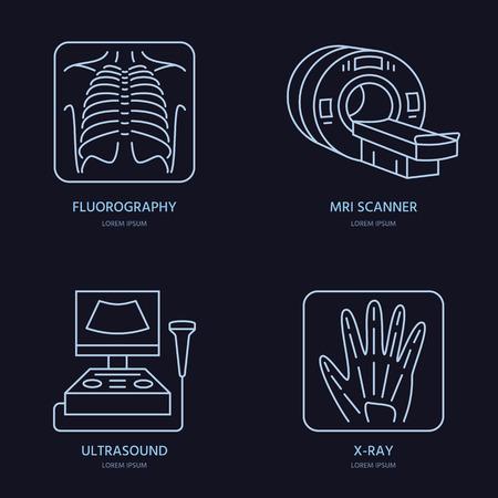 X 線、MRI、超音波の現代ベクトル線アイコン。医学研究、診療所線形ロゴ。概要 x 線検査記号です。透視デザイン要素を病院のサイト。肺がん検診、  イラスト・ベクター素材