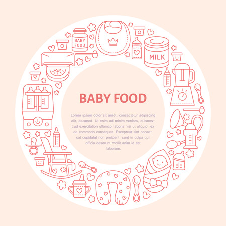 breastfeeding: Breastfeeding poster template. Vector line illustration of breast feeding, baby infant food. Nursery element: breast pump, woman, child, powdered milk, bottle sterilizer, baby. Maternity banner design Illustration