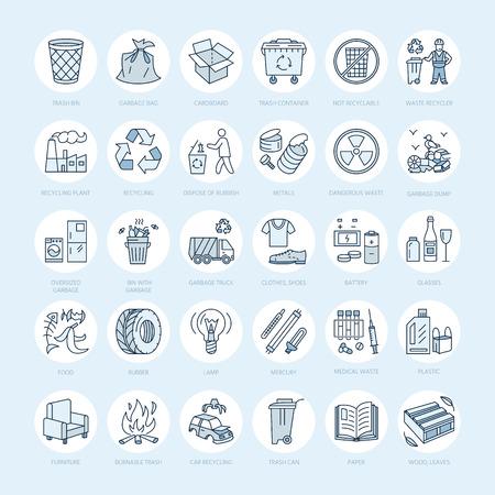 Moderno icono de la línea vector de clasificación de residuos, el reciclaje. Recolección de basura. Reciclables de residuos - papel, vidrio, plástico, metal. pictograma lineal con accidente cerebrovascular editable para el cartel, folleto de la gestión de residuos Foto de archivo - 66482622