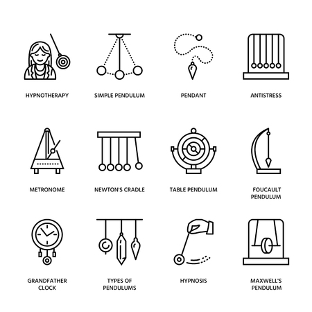 hypnotherapy: Vector line icon of pendulum types. Newton cradle, metronome, table pendulum, perpetuum mobile, gyroscope. Linear pictogram editable stroke for site, brochure of hypnosis, hypnotherapy. Pendulum logo.