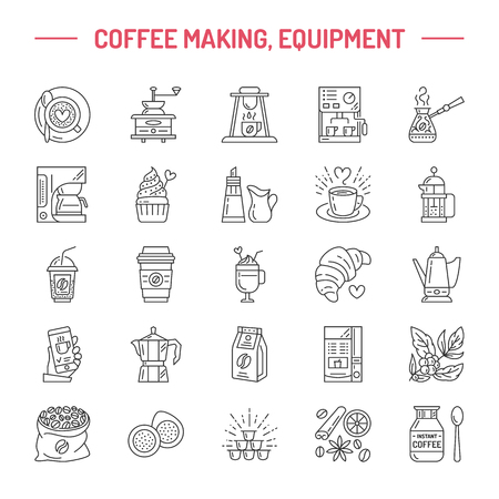 black coffee: Vector line icons of coffee making equipment. Elements - moka pot, french press, coffee grinder, espresso, vending, coffee plant. Linear restaurant, shop pictogram with editable stroke for coffee menu