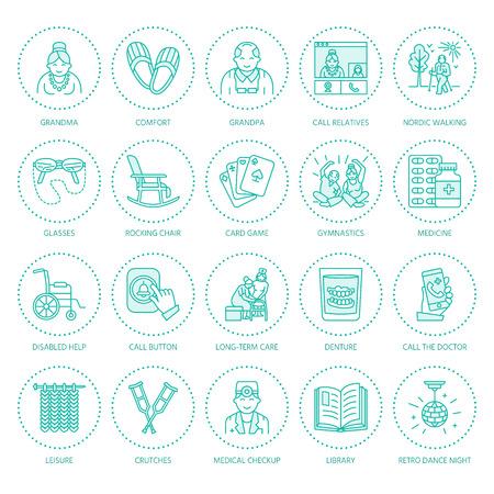 シニア ・介護の現代ベクトル線アイコン。看護ホームの要素 - 高齢者、車椅子、レジャー、病院を呼び出すボタン、活動、医師。サイト、パンフレ