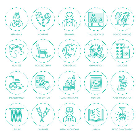 Modern vector line icon of senior and elderly care. Nursing home elements - old people, wheelchair, leisure, hospital call button, activity, doctor. Linear pictogram for sites, brochure, clinic Illusztráció