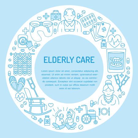 シニア ・介護の現代ベクトル線アイコン。高齢者、車椅子、レジャー、病院の呼び出しボタン、医者のイラスト医療ポスター テンプレート。特別養