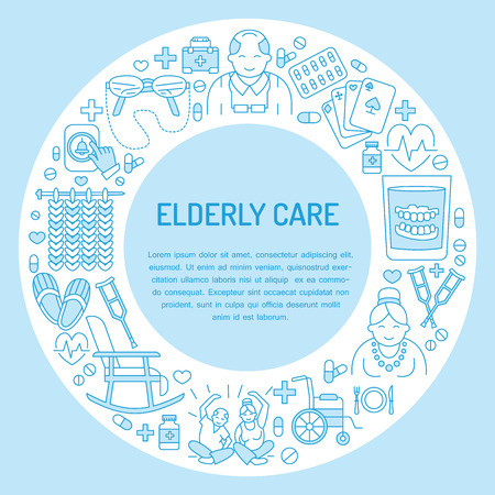 Moderno icono de la línea vector de cuidado de ancianos y personas de edad avanzada. la plantilla del cartel con la ilustración médica de las personas de edad, silla de ruedas, ocio, botón de llamada del hospital, doctor. bandera lineal para el hogar de ancianos Ilustración de vector