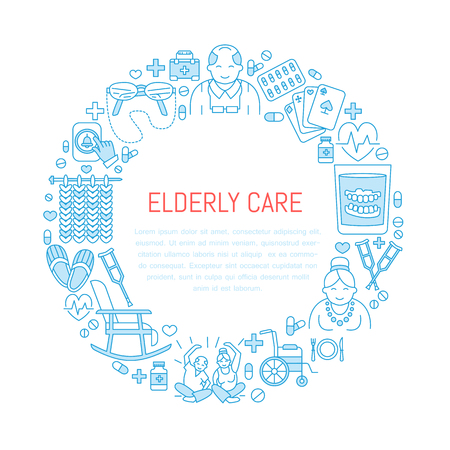 long term care services: Modern vector line icon of senior and elderly care. Medical poster template with illustration of old people, wheelchair, leisure, hospital call button, doctor. Linear banner for nursing home Illustration
