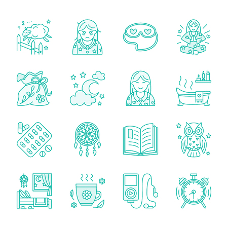 sleeping pills: Modern vector line icon of insomnia problem and healthy sleep. Elements - clock, pillow, pills, dream catcher, counting sheep. Linear pictogram for sites, brochures about sleepless, insomnia Illustration