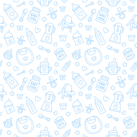 icons: Seamless pattern baby food, pastel color, vector illustration. Infant feeding thin line icons. Cute repeated blue texture, baby item for packaging, baby shower card, fabric. Birthday invitation design