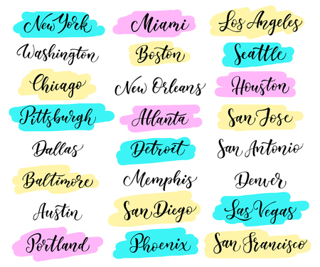 baltimore: USA city lettering. New York, Miami Boston, Dallas, Washington, Atlanta Chicago Detroit Baltimore Los Angeles Las Vegas, Seattle San Francisco, Houston, San Diego Jose, Antonio, Austin Denver Illustration