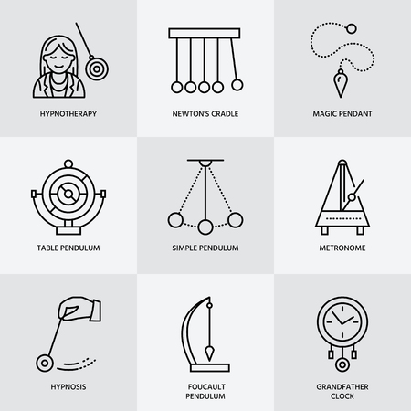 desk toy: Vector line icon of pendulum types. Newton cradle, metronome, table pendulum, perpetuum mobile, gyroscope. Linear pictogram  for site, brochure of hypnosis, hypnotherapy. Pendulum logo.