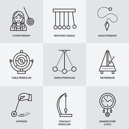pendulum: Vector line icon of pendulum types. Newton cradle, metronome, table pendulum, perpetuum mobile, gyroscope. Linear pictogram  for site, brochure of hypnosis, hypnotherapy. Pendulum logo.