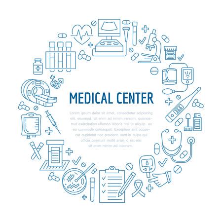 Medical poster template. Vector line icon, illustration of medical center, health check up. Medical equipment - mri, cardiogram, glucometer, doctor, ultrasound, blood test. Healthcare banner design