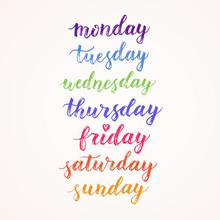 曜日の手描きの背景文字。現代書道。カード、日記、スケジュールのデザイン要素です。月曜日、火曜日、水曜日、木曜日、金曜日、日曜日、日曜  イラスト・ベクター素材