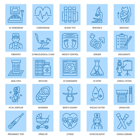 sonogram: Moderno icono de la línea del vector del embarazo y obstetricia. elementos de Ginecología - silla, las pruebas, los médicos, sonograma, bebé, artilugios. iconos lineales con ictus aditable.