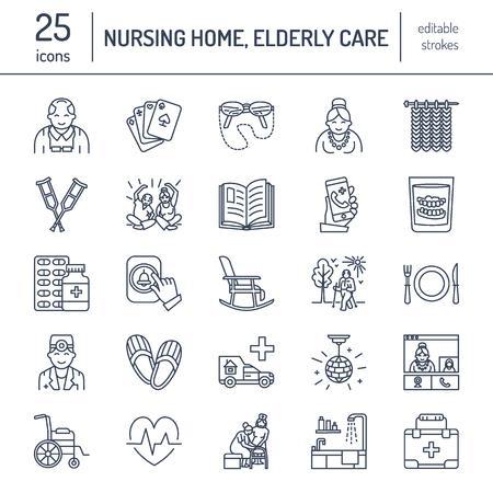 Moderne vector lijn icoon van senior en ouderenzorg. Verpleeghuis elementen - oude mensen, rolstoel, vrije tijd, het ziekenhuis belknop, vrijetijdsbesteding. Lineaire pictogrammen met bewerkbare slag voor sites, brochure.