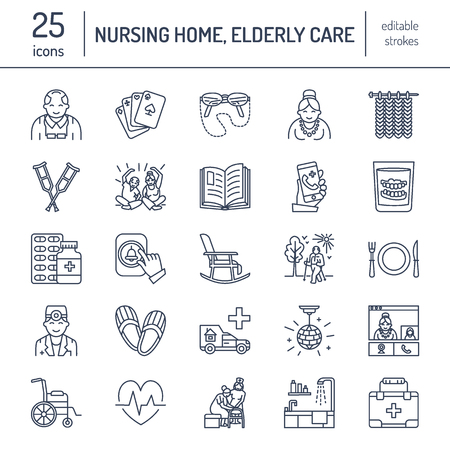 Modern vector line icon of senior and elderly care. Nursing home elements - old people, wheelchair, leisure, hospital call button, leisure. Linear pictograms with editable stroke for sites, brochure. Illustration