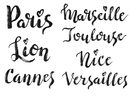 France city hand drawn vector lettering. Modern calligraphy brush lettering. Ink lettering. Paris, Lion, Cannes, Marseille, Toulouse, Nice, Versailles lettering isolated on white background. Illustration
