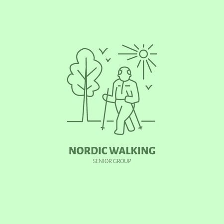 group fitness: Modern vector line icon of nordic walking. Senior sport group linear logo. Outline symbol for elderly leisure. Old men fitness design element for sites, clubs. Nordic walking logotype, sport sign.