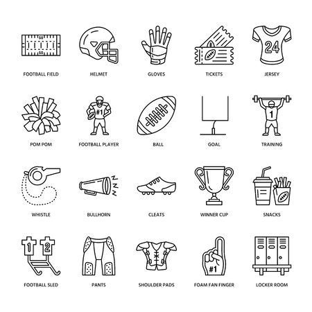 american football helmet set: Vector line icons of american football game. Elements - ball, field, player, helmet, bullhorn. Linear signs set, football championship pictogram with editable stroke for sport event, fan store