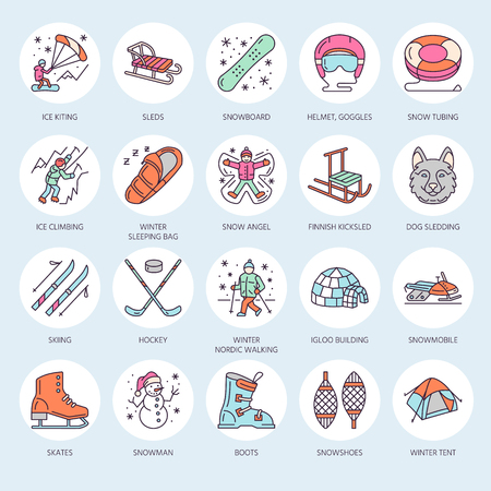 tubing: Cute thin line icons of winter sports. Outdoor activities vector elements - snowboard, hockey sled, skates, snow tubing, ice kiting. Linear pictogram with editable stroke for equipment rent ski resort Illustration