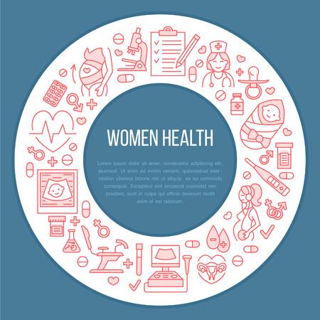 의료 포스터 템플릿입니다. 임신 계획 및 산부인과의 벡터 라인입니다. 산부인과 요소 - 의자, 검진, 테스트, 의사, 초음파, 아기. 의료 배너 디자인, 편집 가능한 스트로크