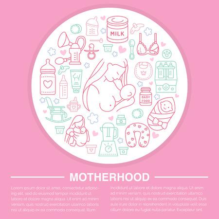 poster modello Maternità. Vettoriale illustrazione linea di allattamento al seno, alimenti per l'infanzia. Nursery elemento- tiralatte, latte in polvere, bottiglia sterilizzatore, la formula di bambino. design di banner di maternità Vettoriali