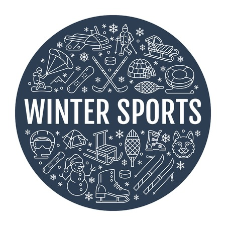tubing: Winter sports banner, equipment rent at ski resort. Vector line icon of skates, hockey sticks, sleds, snowboard, snow tubing hire. Cold season outdoor activities template with place for text