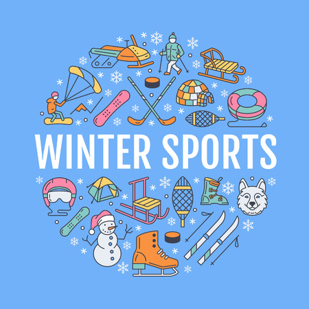 Winter sports banner, equipment rent at ski resort. Vector line icon of skates, hockey sticks, sleds, snowboard, snow tubing hire. Cold season outdoor activities template with place for text
