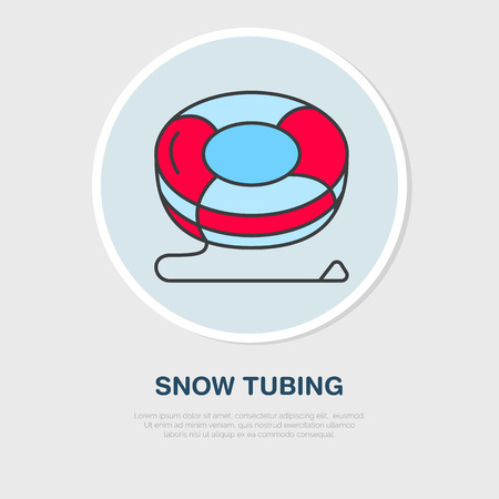 tubing: Vector thin line icon of snow tubing. Winter recreation equipment rent. Outline symbol, cold season activities sign.