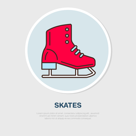 skating on thin ice: Vector thin line icon of figure skating. Winter recreation equipment rent.  Cold season activities, ice rink sign.