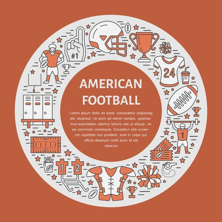 nfl helmet: American football banner with line icons of ball, field, player, whistle, helmet and other sport equipment. Vector circle illustration for football championship poster.