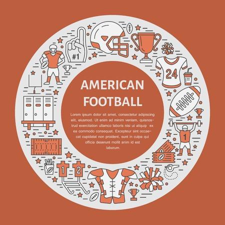 bannière football: bannière de football américain avec des icônes de la ligne de balle, champ, joueur, sifflet, casque et autres équipements de sport. Vector illustration cercle pour l'affiche de championnat de football.