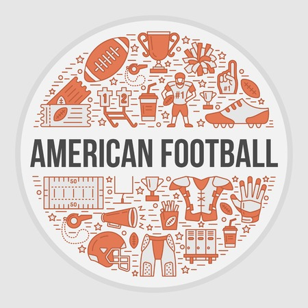 bannière football: American football banner with line icons of ball, field, player, whistle, helmet and other sport equipment. Vector circle illustration for football championship poster.