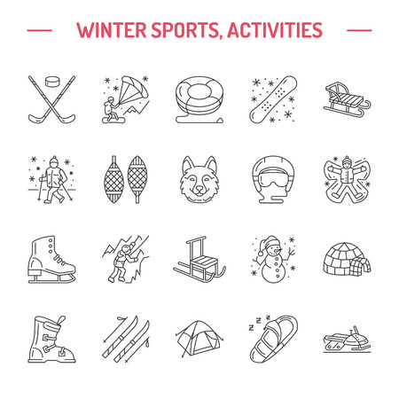 tubing: Ski, snowboard, skates, tubing, ice kiting, climbing and other winter sport line icons. Outdoor activity thin linear pictogram such as camping, igloo building, snow angel making. Equipment rent signs
