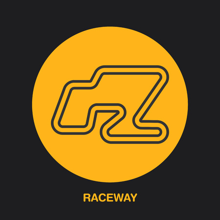 karting: Racing car track line icon. Karting logo, driving lessons sign. Raceway illustration.
