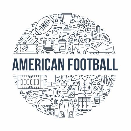 アメリカン フットボール ボール、フィールド、プレーヤー、笛、ヘルメット、その他スポーツ機器の線のアイコンとバナー。サッカー選手権ポスタ  イラスト・ベクター素材