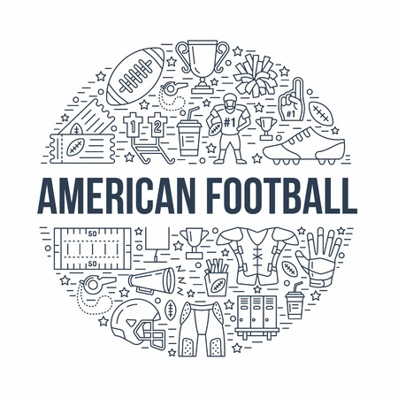American football banner with line icons of ball, field, player, whistle, helmet and other sport equipment. Vector circle illustration for football championship poster.