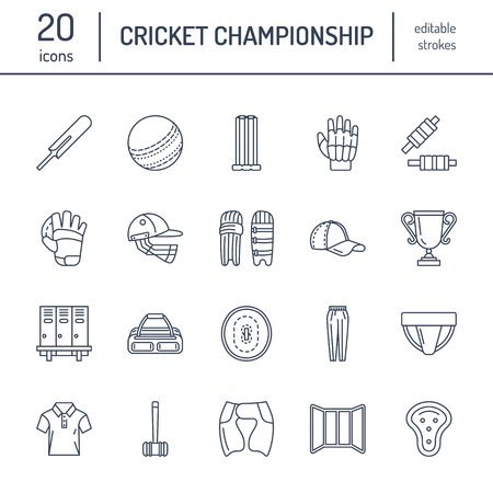 bails: Vector line icons of cricket sport game. Ball, bat, wicket, helmet,  gloves. Linear signs set, championship pictograms with editable stroke for event, equipment store. Illustration