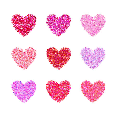 glamorous: Pink glitter valentine day heart shape. Vector background for wedding invitation, greeting card. Glamorous sparkling banner backdrop.
