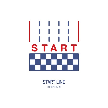 start line: Start line vector linear icon. Speed automobile, racing car sign. Competition illustration.