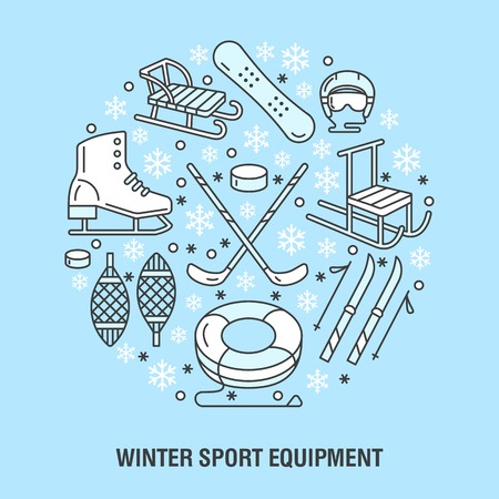 tubing: Winter sports banner, equipment rent at ski resort. Vector line icon of skates, hockey sticks, sleds, snowboard, snow tubing hire. Cold season outdoor activities template Illustration